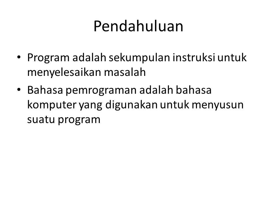 Pendahuluan Program adalah sekumpulan instruksi untuk menyelesaikan masalah Bahasa pemrograman adalah bahasa komputer yang digunakan untuk menyusun suatu program