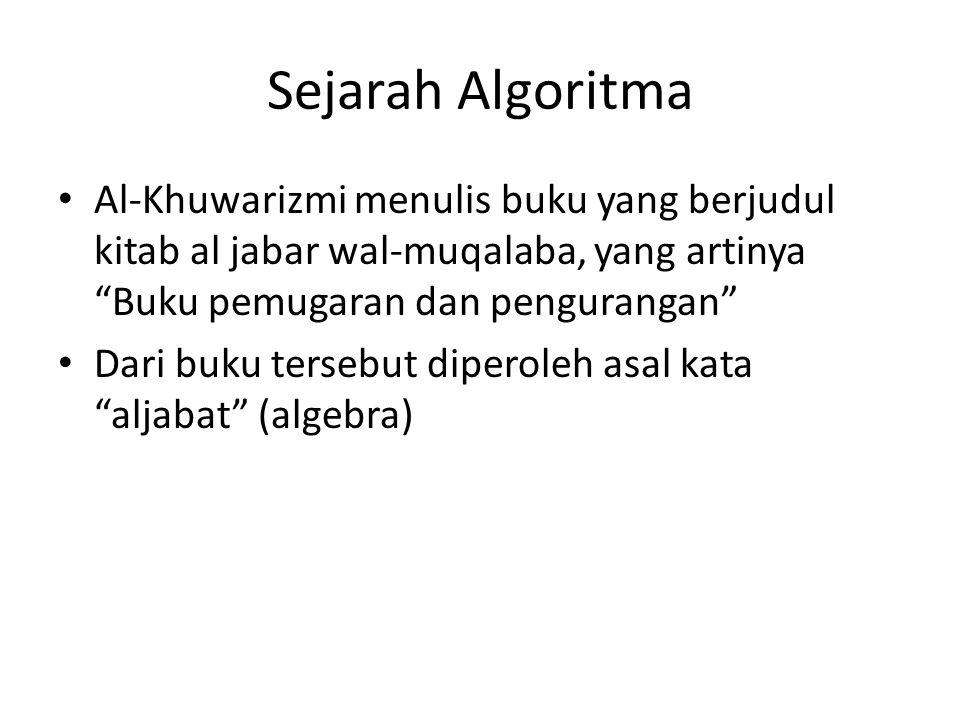 Sejarah Algoritma Al-Khuwarizmi menulis buku yang berjudul kitab al jabar wal-muqalaba, yang artinya Buku pemugaran dan pengurangan Dari buku tersebut diperoleh asal kata aljabat (algebra)