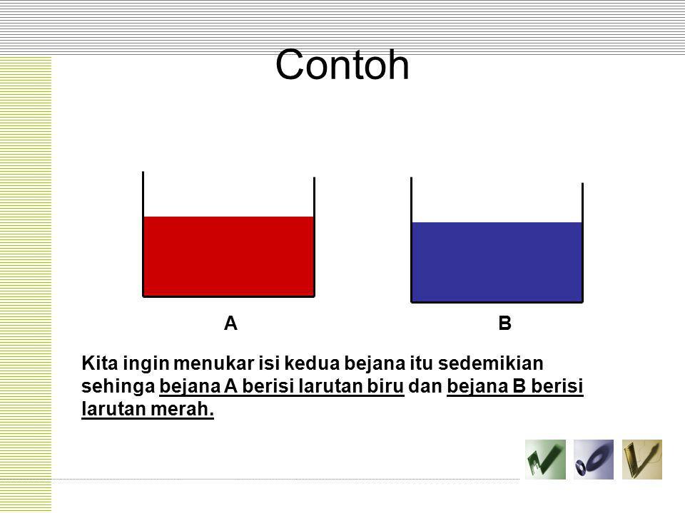 Contoh AB Kita ingin menukar isi kedua bejana itu sedemikian sehinga bejana A berisi larutan biru dan bejana B berisi larutan merah.