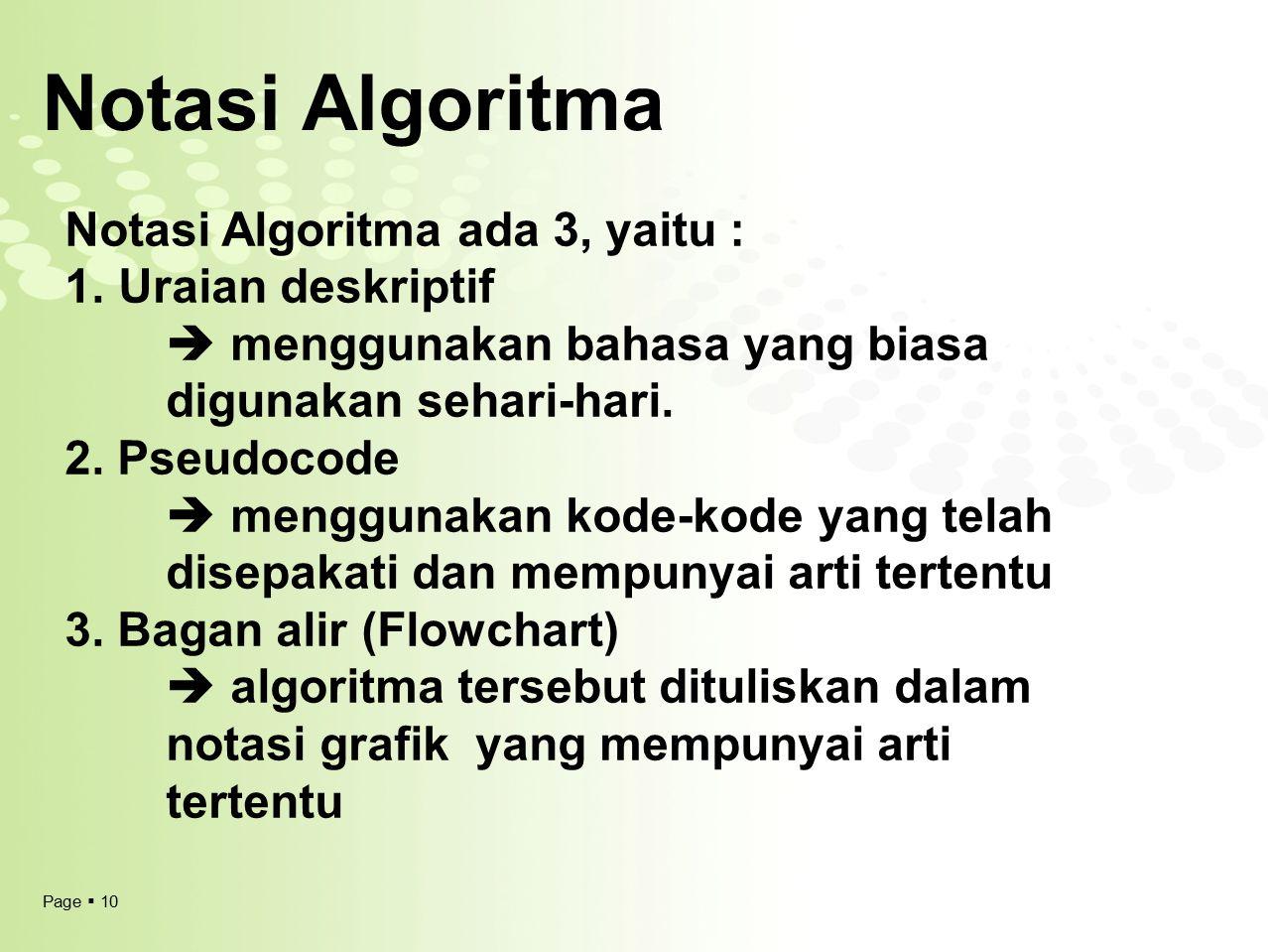 Page  10 Notasi Algoritma Notasi Algoritma ada 3, yaitu : 1.Uraian deskriptif  menggunakan bahasa yang biasa digunakan sehari-hari. 2. Pseudocode 
