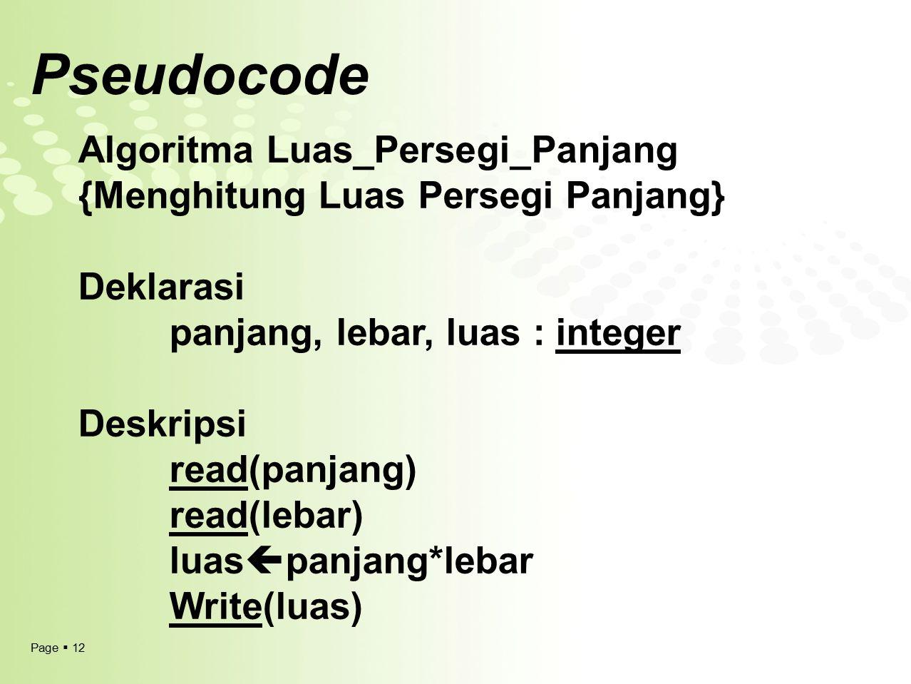 Page  12 Pseudocode Algoritma Luas_Persegi_Panjang {Menghitung Luas Persegi Panjang} Deklarasi panjang, lebar, luas : integer Deskripsi read(panjang)