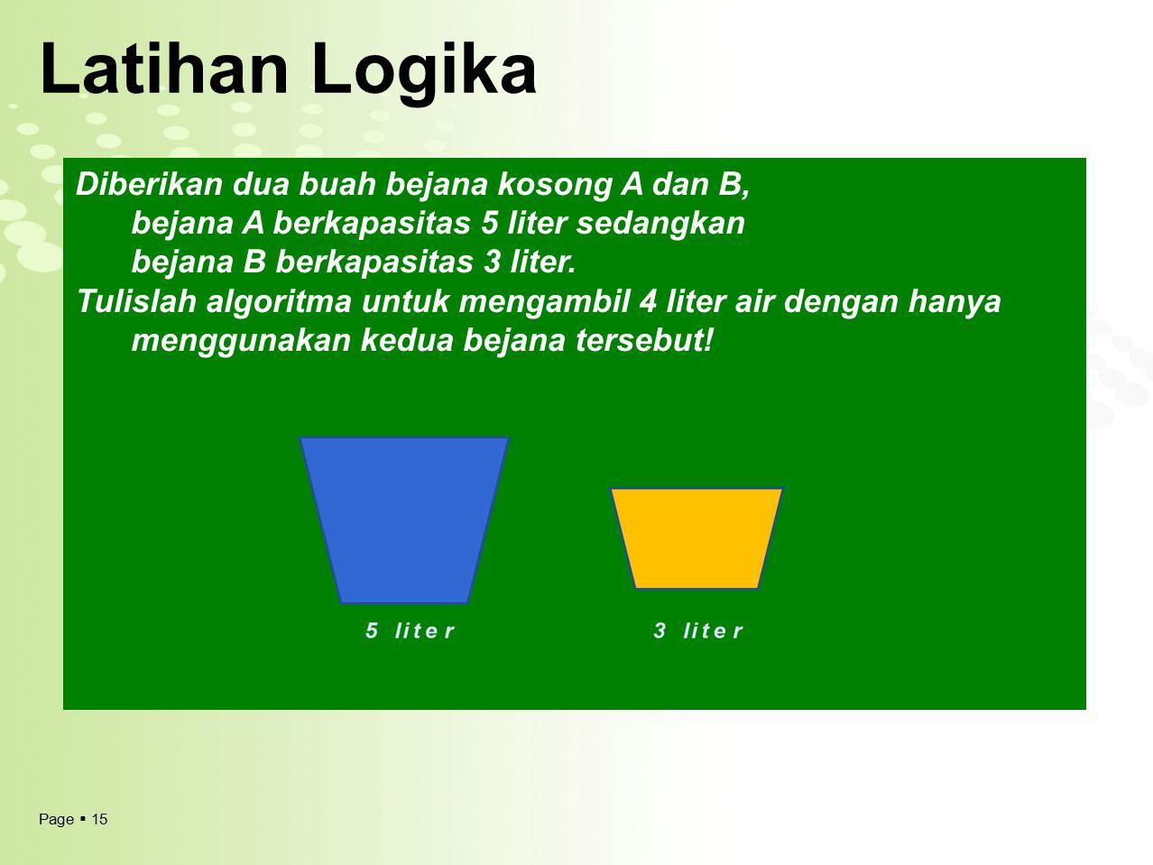 Page  15 Latihan Logika Diberikan dua buah bejana kosong A dan B, bejana A berkapasitas 5 liter sedangkan bejana B berkapasitas 3 liter. Tulislah alg
