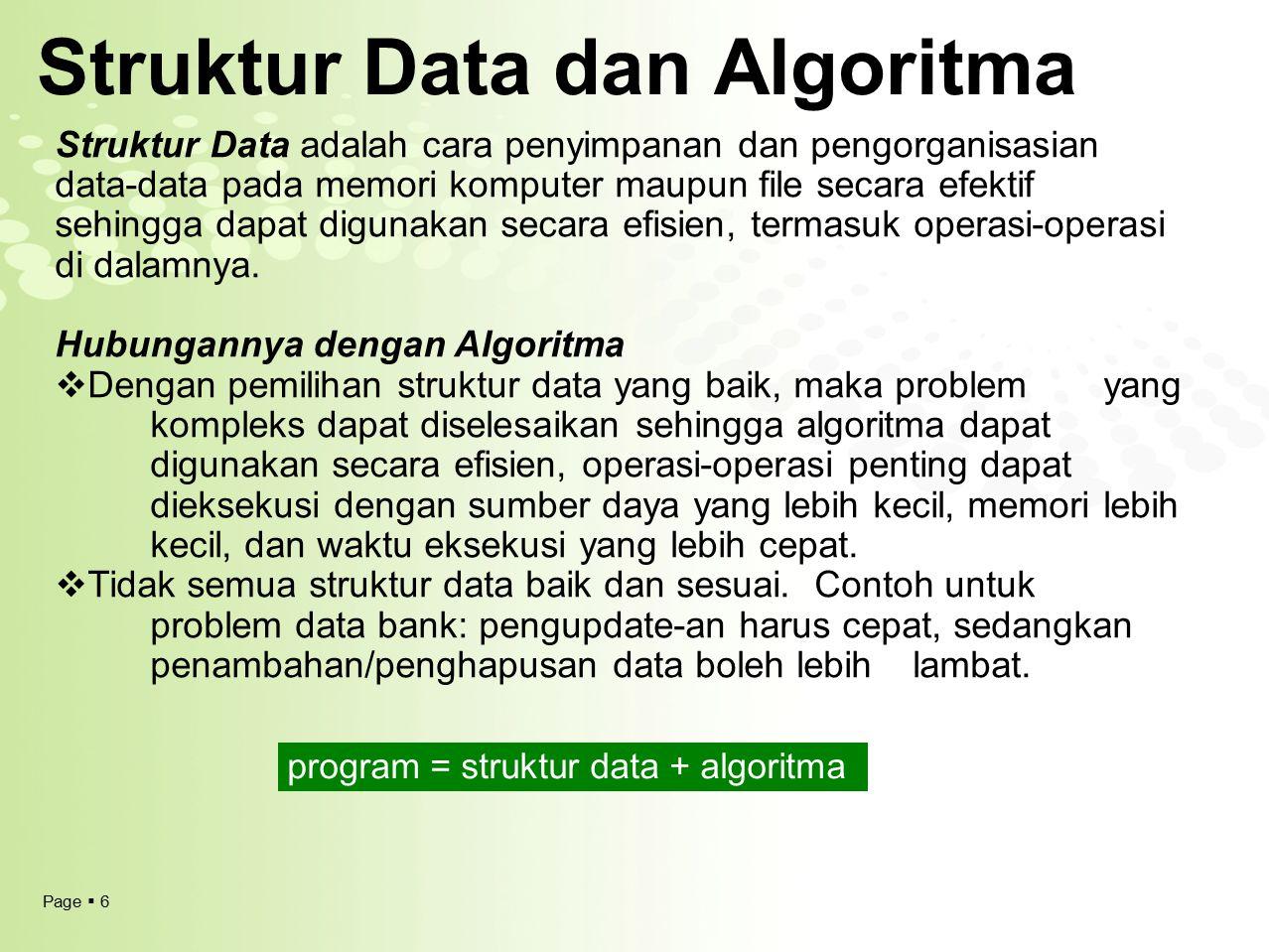 Page  6 Struktur Data dan Algoritma Struktur Data adalah cara penyimpanan dan pengorganisasian data-data pada memori komputer maupun file secara efek