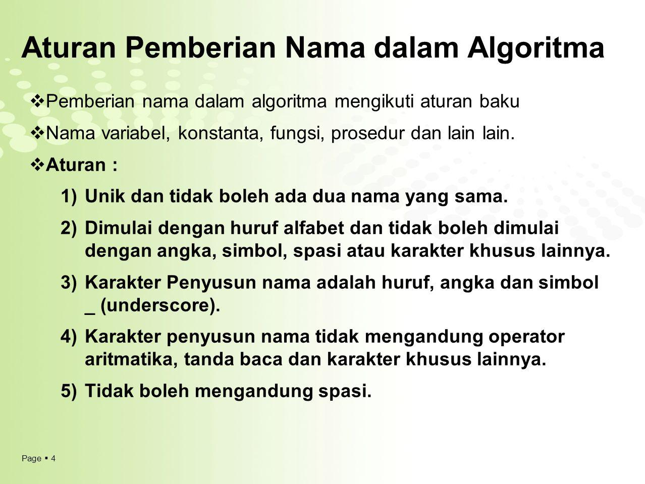 Page  4 Aturan Pemberian Nama dalam Algoritma  Pemberian nama dalam algoritma mengikuti aturan baku  Nama variabel, konstanta, fungsi, prosedur dan