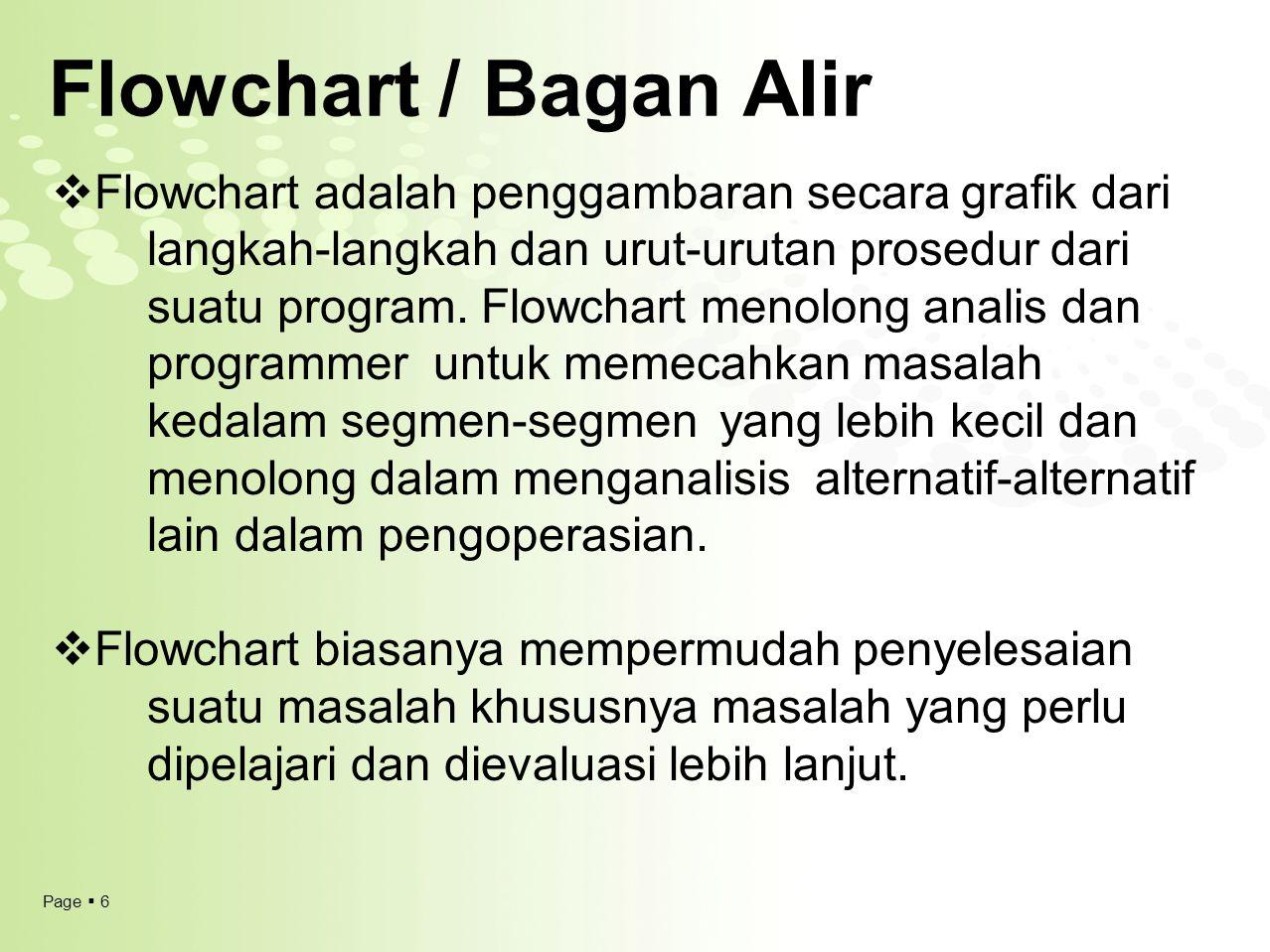 Page  6 Flowchart / Bagan Alir  Flowchart adalah penggambaran secara grafik dari langkah-langkah dan urut-urutan prosedur dari suatu program. Flowch