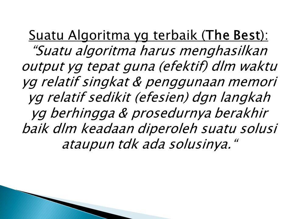 """Suatu Algoritma yg terbaik (The Best): """"Suatu algoritma harus menghasilkan output yg tepat guna (efektif) dlm waktu yg relatif singkat & penggunaan me"""