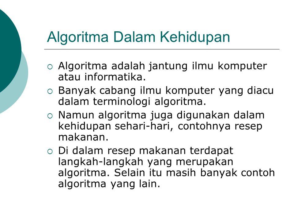 Algoritma Dalam Kehidupan  Algoritma adalah jantung ilmu komputer atau informatika.  Banyak cabang ilmu komputer yang diacu dalam terminologi algori
