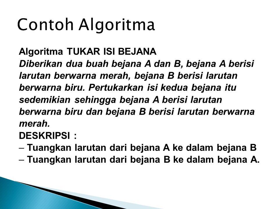 Contoh Algoritma Algoritma TUKAR ISI BEJANA Diberikan dua buah bejana A dan B, bejana A berisi larutan berwarna merah, bejana B berisi larutan berwarn