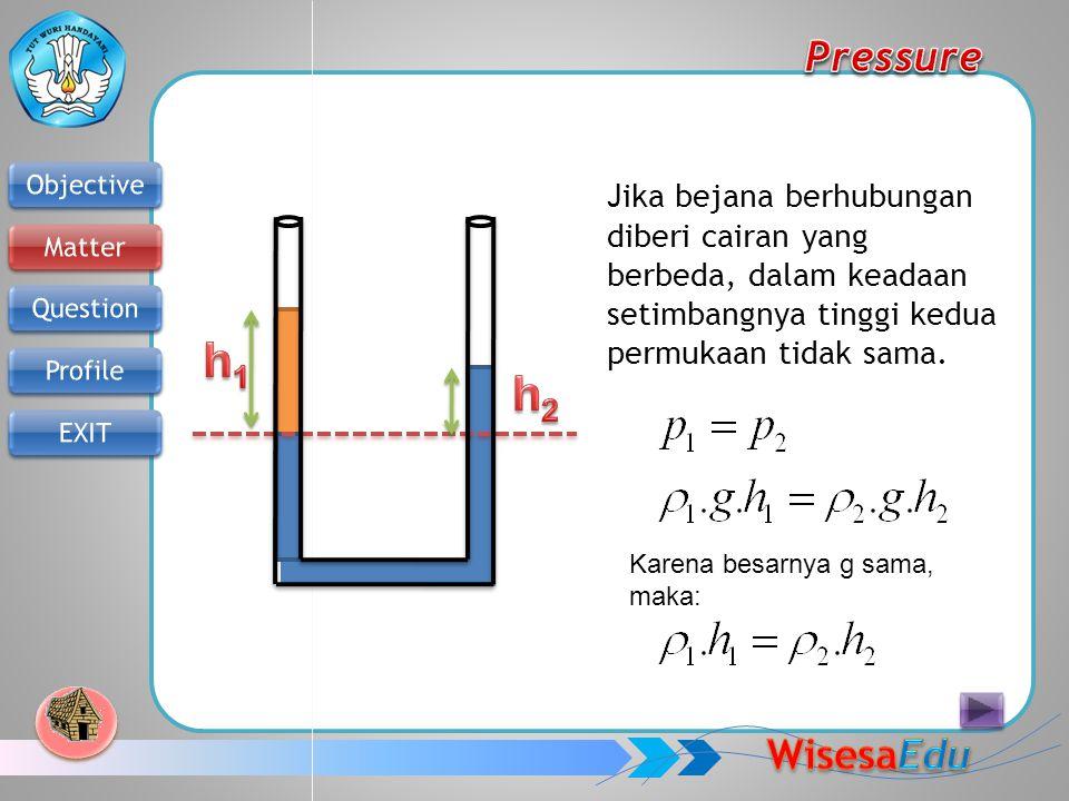 Jika bejana berhubungan diberi cairan yang berbeda, dalam keadaan setimbangnya tinggi kedua permukaan tidak sama. Karena besarnya g sama, maka: