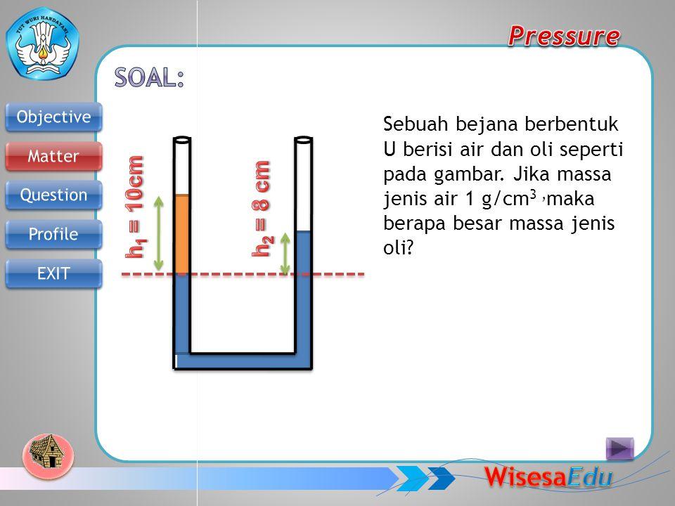 Sebuah bejana berbentuk U berisi air dan oli seperti pada gambar. Jika massa jenis air 1 g/cm 3, maka berapa besar massa jenis oli?