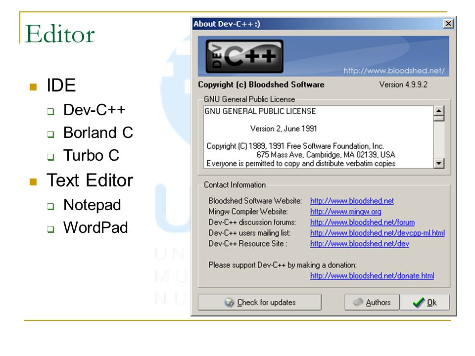 Editor IDE  Dev-C++  Borland C  Turbo C Text Editor  Notepad  WordPad