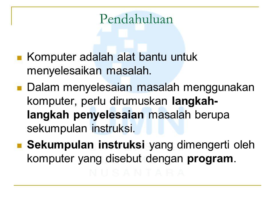 Pendahuluan Komputer adalah alat bantu untuk menyelesaikan masalah. Dalam menyelesaian masalah menggunakan komputer, perlu dirumuskan langkah- langkah