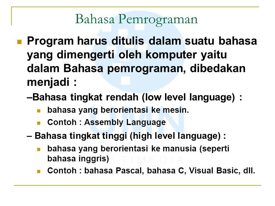 Bahasa Pemrograman Program harus ditulis dalam suatu bahasa yang dimengerti oleh komputer yaitu dalam Bahasa pemrograman, dibedakan menjadi : –Bahasa