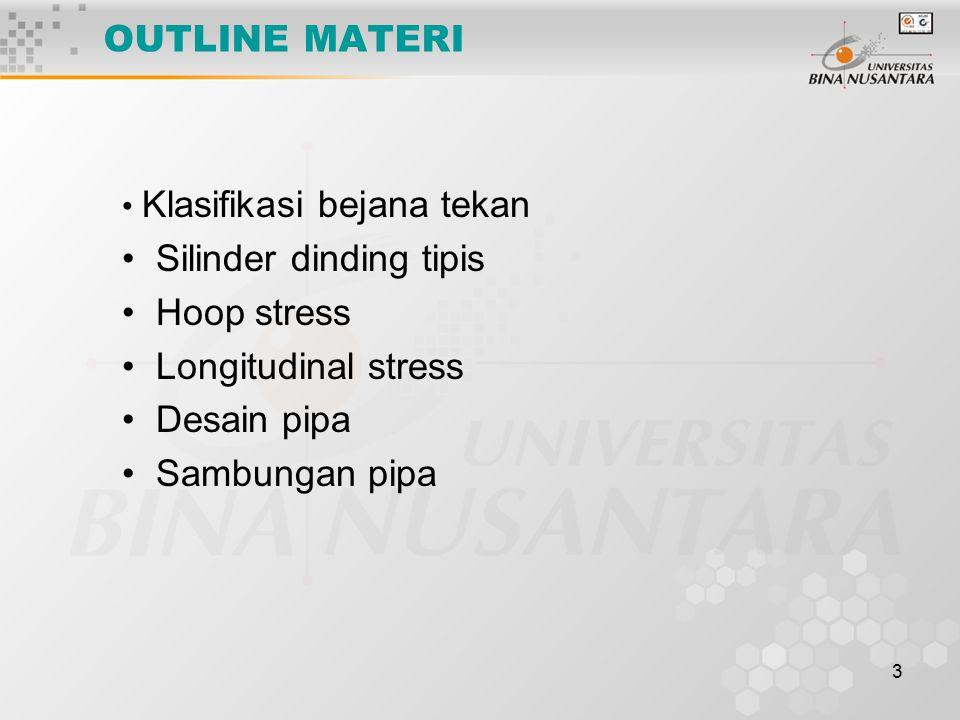 3 OUTLINE MATERI Klasifikasi bejana tekan Silinder dinding tipis Hoop stress Longitudinal stress Desain pipa Sambungan pipa