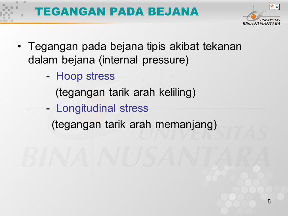 5 TEGANGAN PADA BEJANA Tegangan pada bejana tipis akibat tekanan dalam bejana (internal pressure) - Hoop stress (tegangan tarik arah keliling) - Longi