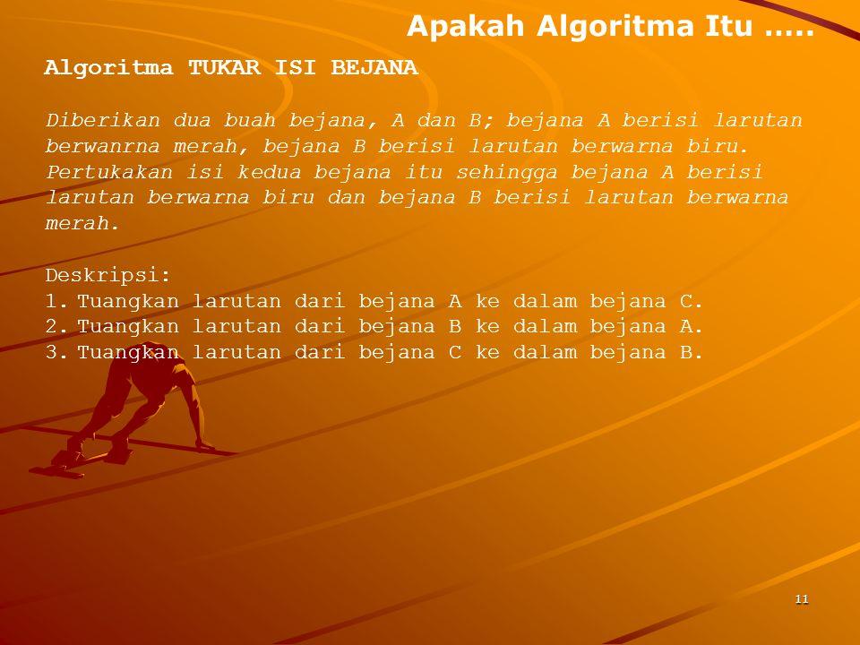 Apakah Algoritma Itu ….. Algoritma TUKAR ISI BEJANA Diberikan dua buah bejana, A dan B; bejana A berisi larutan berwanrna merah, bejana B berisi larut