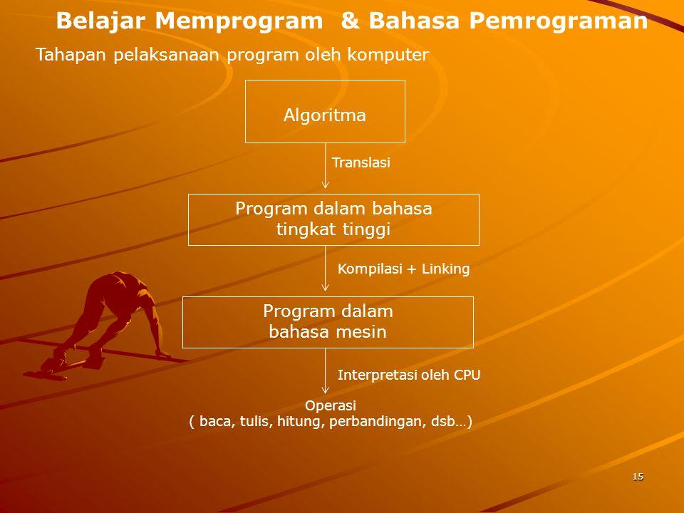 Belajar Memprogram & Bahasa Pemrograman Tahapan pelaksanaan program oleh komputer Algoritma Program dalam bahasa tingkat tinggi Program dalam bahasa m