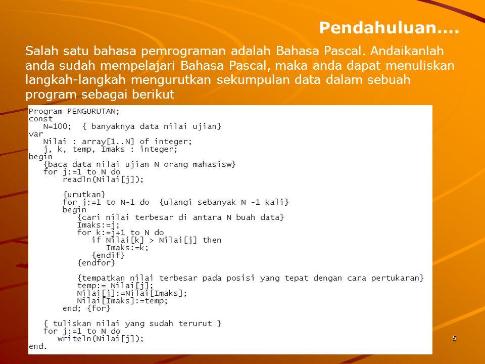 Pendahuluan…. Salah satu bahasa pemrograman adalah Bahasa Pascal. Andaikanlah anda sudah mempelajari Bahasa Pascal, maka anda dapat menuliskan langkah