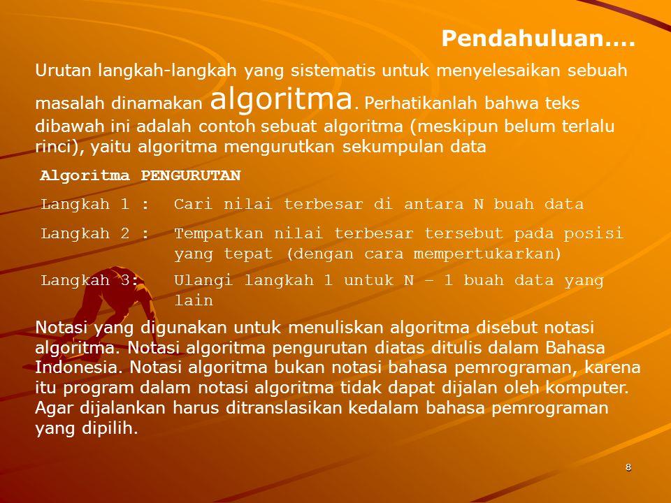 Pendahuluan…. Urutan langkah-langkah yang sistematis untuk menyelesaikan sebuah masalah dinamakan algoritma. Perhatikanlah bahwa teks dibawah ini adal