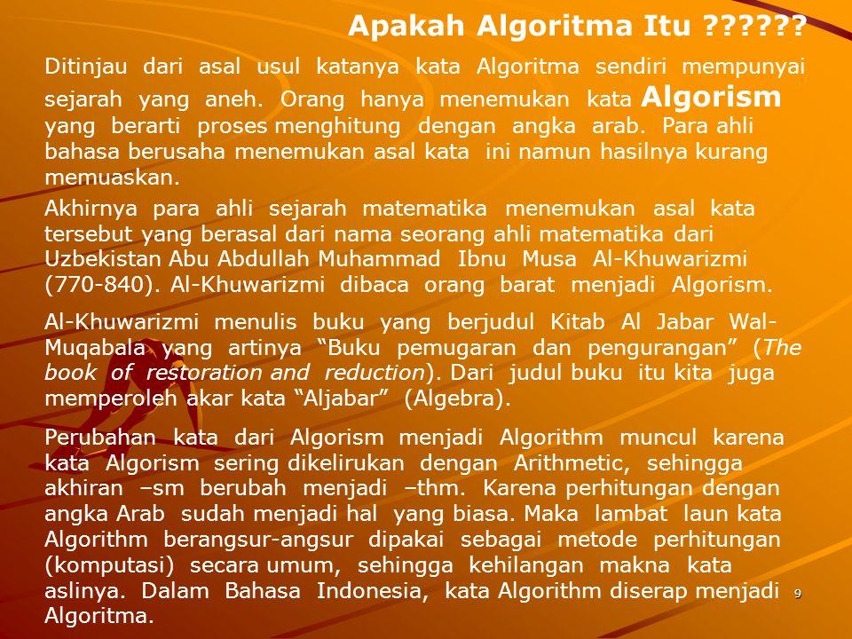 Apakah Algoritma Itu ?????? Ditinjau dari asal usul katanya kata Algoritma sendiri mempunyai sejarah yang aneh. Orang hanya menemukan kata Algorism ya
