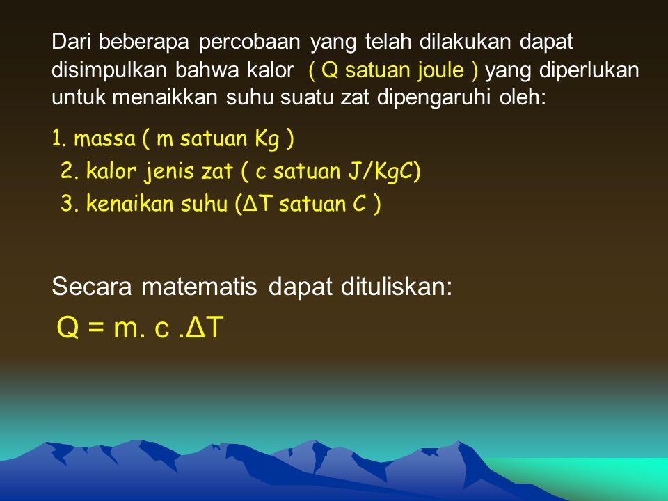 Contoh Soal 1.5 Kg Air yang memiliki suhu 25 C, Jika kalor jenis air 4200 J/Kg.C.