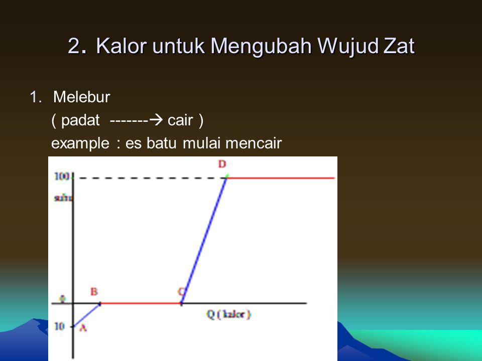Kalor lebur ( L ) -  kalor untuk merubah 1 Kg zat dr padat -  cair Kalor uap ( U ) -  kalor untuk merubah 1 Kg zat dr cair -  uap 1.Melebur : B- C Kalor yang diperlukan : Q = m.L ( cz tdk ada kenaikan suhu ) Q = kalor yang diperlukan ( Joule ; kalori ) m = massa zat ( Kg atau g ) L = kalor lebur zat ( J/Kg ) 2.Menguap : D- E Kalor yang diperlukan : Q = m.