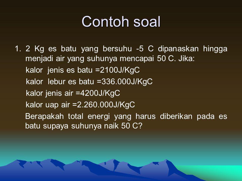 Latihan 1.Berapakah kalor yang dilepaskan oleh 5 Kg tembaga jika suhunya diturunkan dari 100 C menjadi 50 C (kalor jenis tembaga = 390 J/Kg C) 2.Berapa kalor yang diperlukan oleh 3 Kg es untuk proses B – C, C – E ?