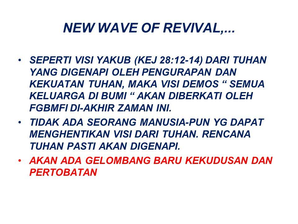 "NEW WAVE OF REVIVAL,... SEPERTI VISI YAKUB (KEJ 28:12-14) DARI TUHAN YANG DIGENAPI OLEH PENGURAPAN DAN KEKUATAN TUHAN, MAKA VISI DEMOS "" SEMUA KELUARG"