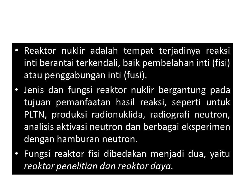 Reaktor nuklir adalah tempat terjadinya reaksi inti berantai terkendali, baik pembelahan inti (fisi) atau penggabungan inti (fusi). Jenis dan fungsi r