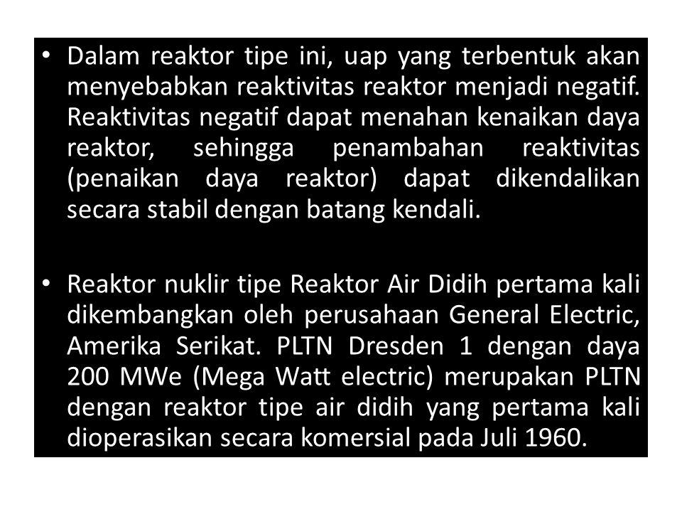 Dalam reaktor tipe ini, uap yang terbentuk akan menyebabkan reaktivitas reaktor menjadi negatif. Reaktivitas negatif dapat menahan kenaikan daya reakt