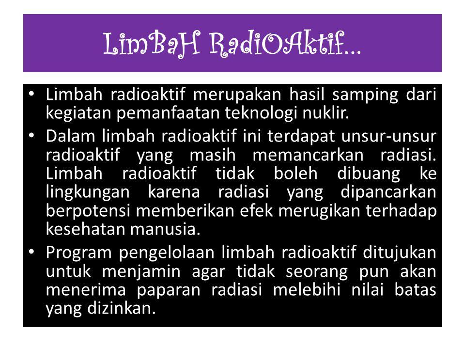 Limbah radioaktif merupakan hasil samping dari kegiatan pemanfaatan teknologi nuklir. Dalam limbah radioaktif ini terdapat unsur-unsur radioaktif yang