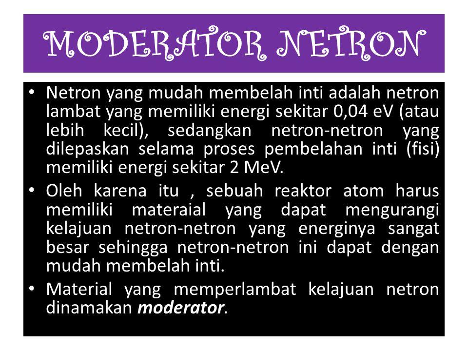 Netron yang mudah membelah inti adalah netron lambat yang memiliki energi sekitar 0,04 eV (atau lebih kecil), sedangkan netron-netron yang dilepaskan