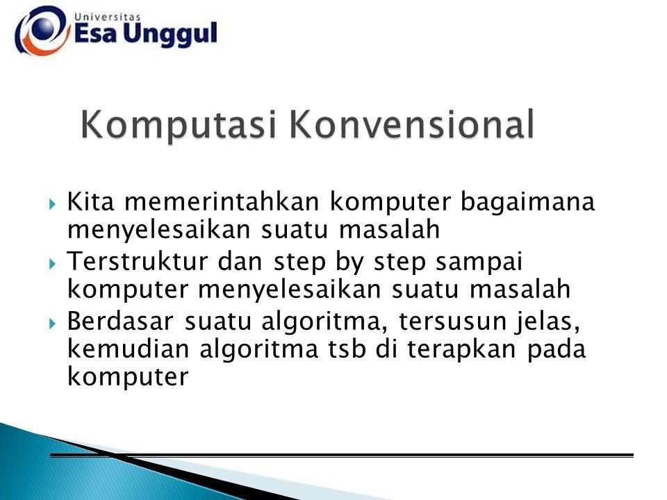  Kita memerintahkan komputer bagaimana menyelesaikan suatu masalah  Terstruktur dan step by step sampai komputer menyelesaikan suatu masalah  Berda