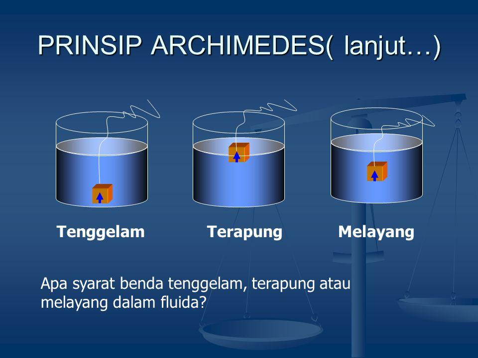 PRINSIP ARCHIMEDES Sebuah benda yang tenggelam seluruhnya atau sebagian dalam suatu fluida akan mendapatkan gaya angkat ke atas yang sama besar dengan