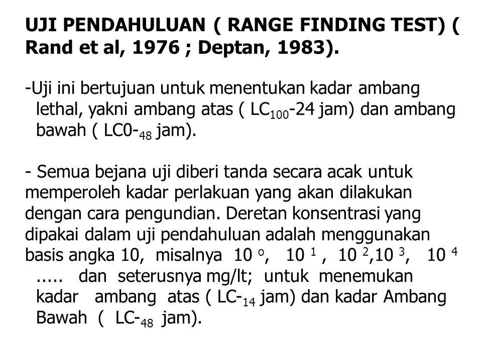 UJI PENDAHULUAN ( RANGE FINDING TEST) ( Rand et al, 1976 ; Deptan, 1983). -Uji ini bertujuan untuk menentukan kadar ambang lethal, yakni ambang atas (