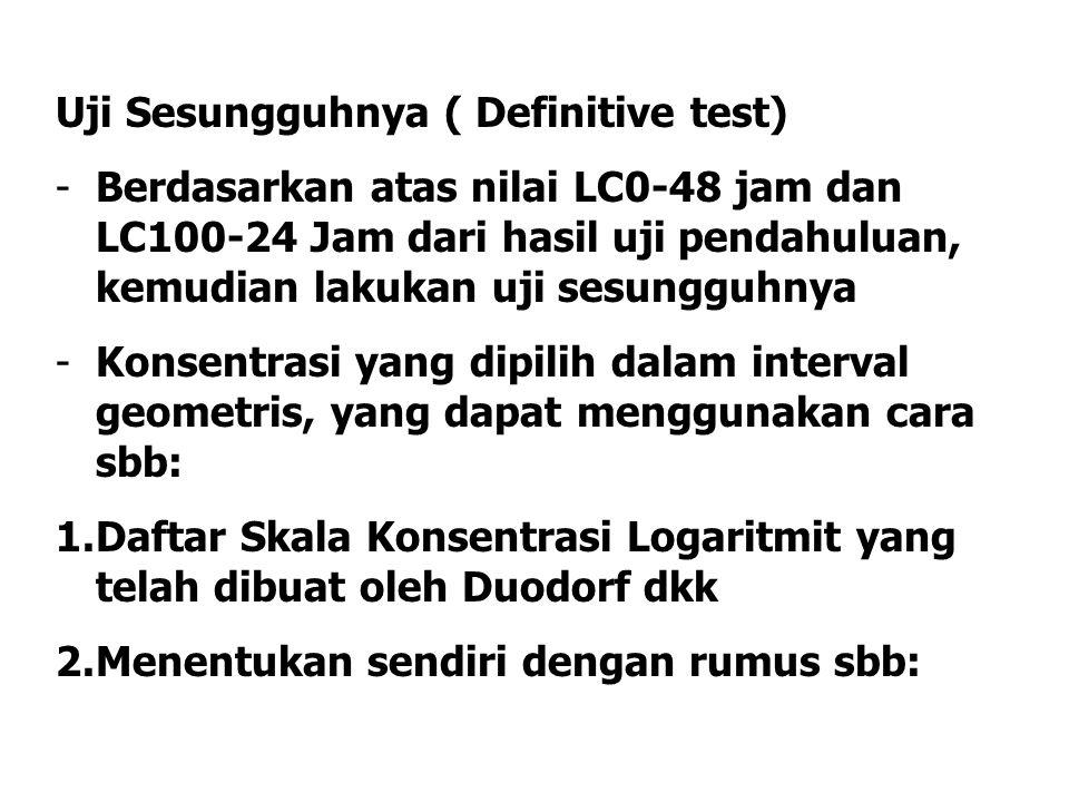 Uji Sesungguhnya ( Definitive test) -Berdasarkan atas nilai LC0-48 jam dan LC100-24 Jam dari hasil uji pendahuluan, kemudian lakukan uji sesungguhnya