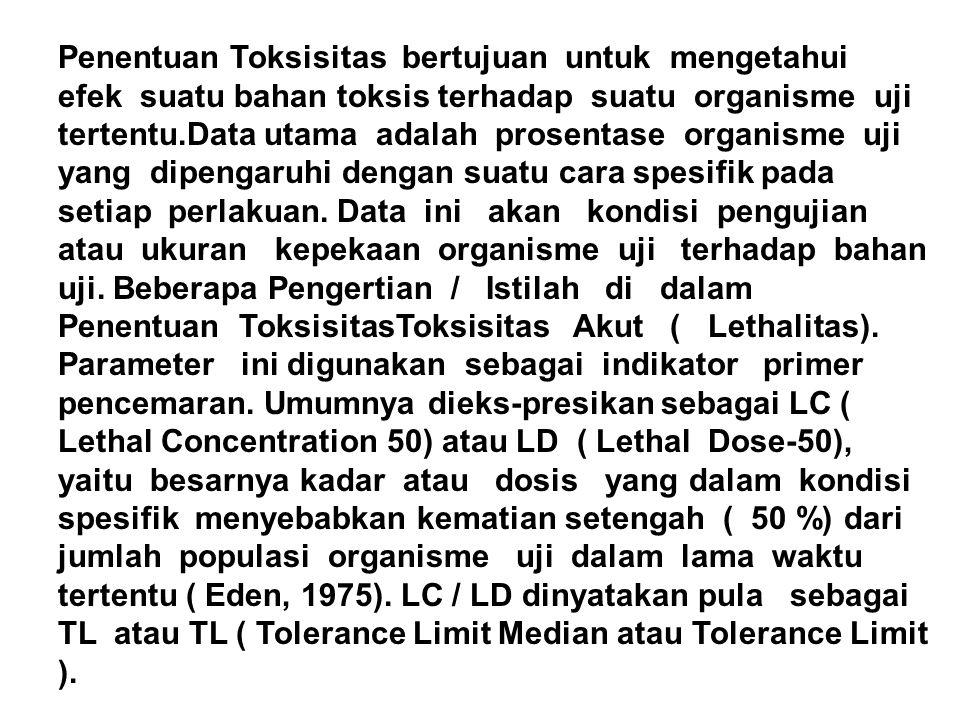 Penentuan Toksisitas bertujuan untuk mengetahui efek suatu bahan toksis terhadap suatu organisme uji tertentu.Data utama adalah prosentase organisme u