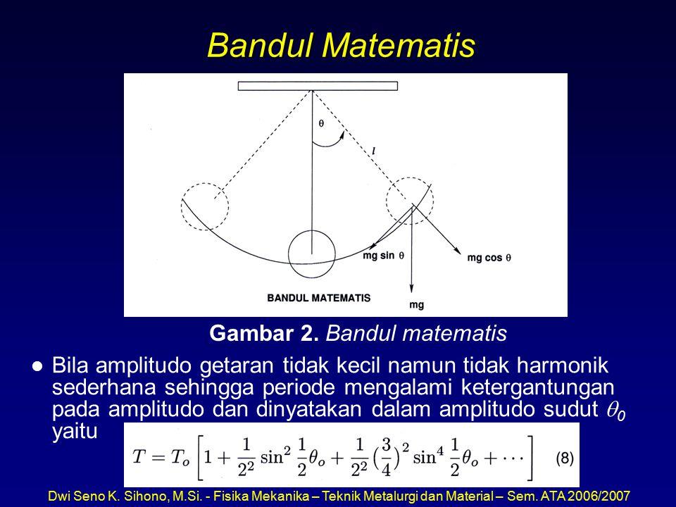Dwi Seno K. Sihono, M.Si. - Fisika Mekanika – Teknik Metalurgi dan Material – Sem. ATA 2006/2007 Bandul Matematis l Bila amplitudo getaran tidak kecil