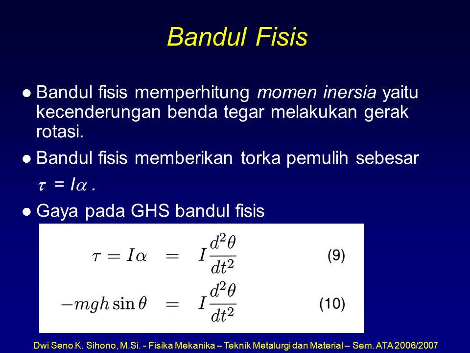 Dwi Seno K. Sihono, M.Si. - Fisika Mekanika – Teknik Metalurgi dan Material – Sem. ATA 2006/2007 Bandul Fisis l Bandul fisis memperhitung momen inersi