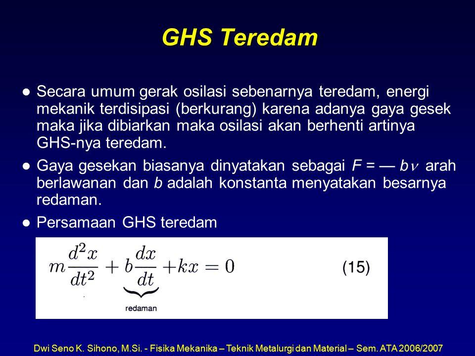 Dwi Seno K. Sihono, M.Si. - Fisika Mekanika – Teknik Metalurgi dan Material – Sem. ATA 2006/2007 GHS Teredam l Secara umum gerak osilasi sebenarnya te