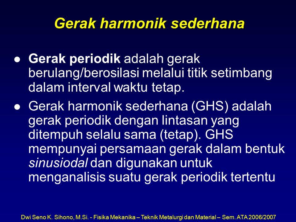 Dwi Seno K. Sihono, M.Si. - Fisika Mekanika – Teknik Metalurgi dan Material – Sem. ATA 2006/2007 Gerak harmonik sederhana l Gerak periodik adalah gera