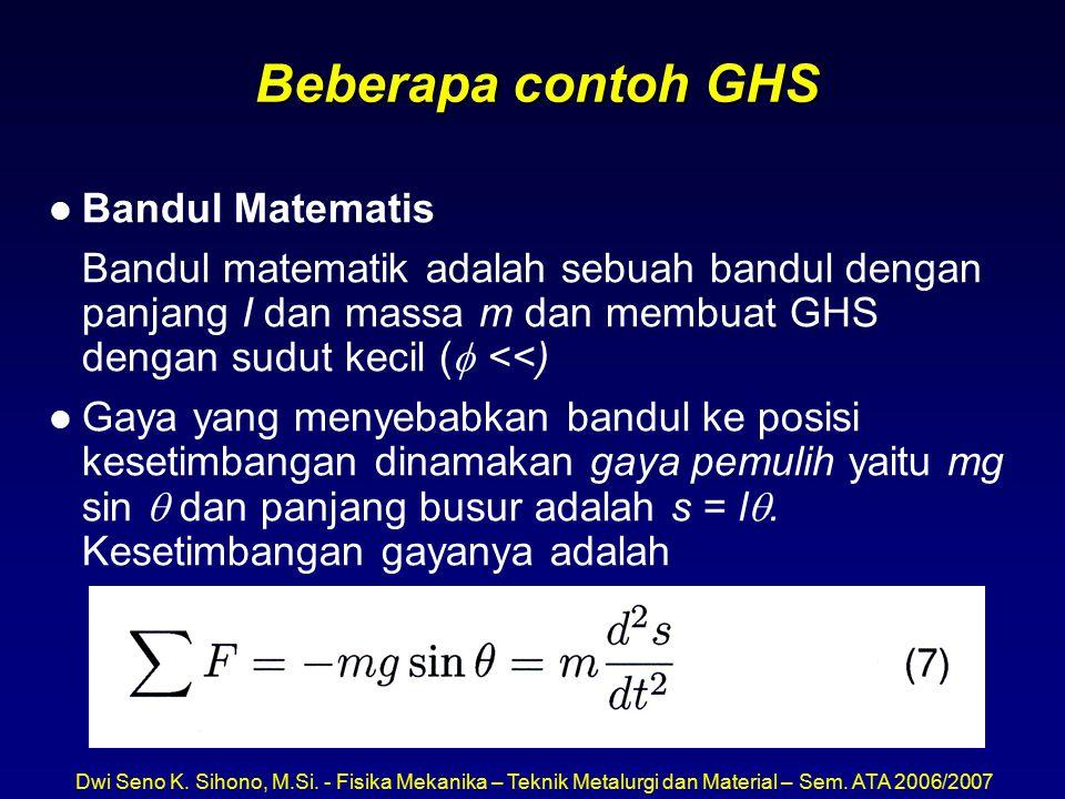 Dwi Seno K. Sihono, M.Si. - Fisika Mekanika – Teknik Metalurgi dan Material – Sem. ATA 2006/2007 Beberapa contoh GHS l Bandul Matematis Bandul matemat