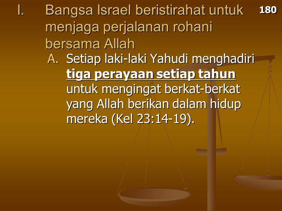 I. Bangsa Israel beristirahat untuk menjaga perjalanan rohani bersama Allah A.Setiap laki-laki Yahudi menghadiri tiga perayaan setiap tahun untuk meng