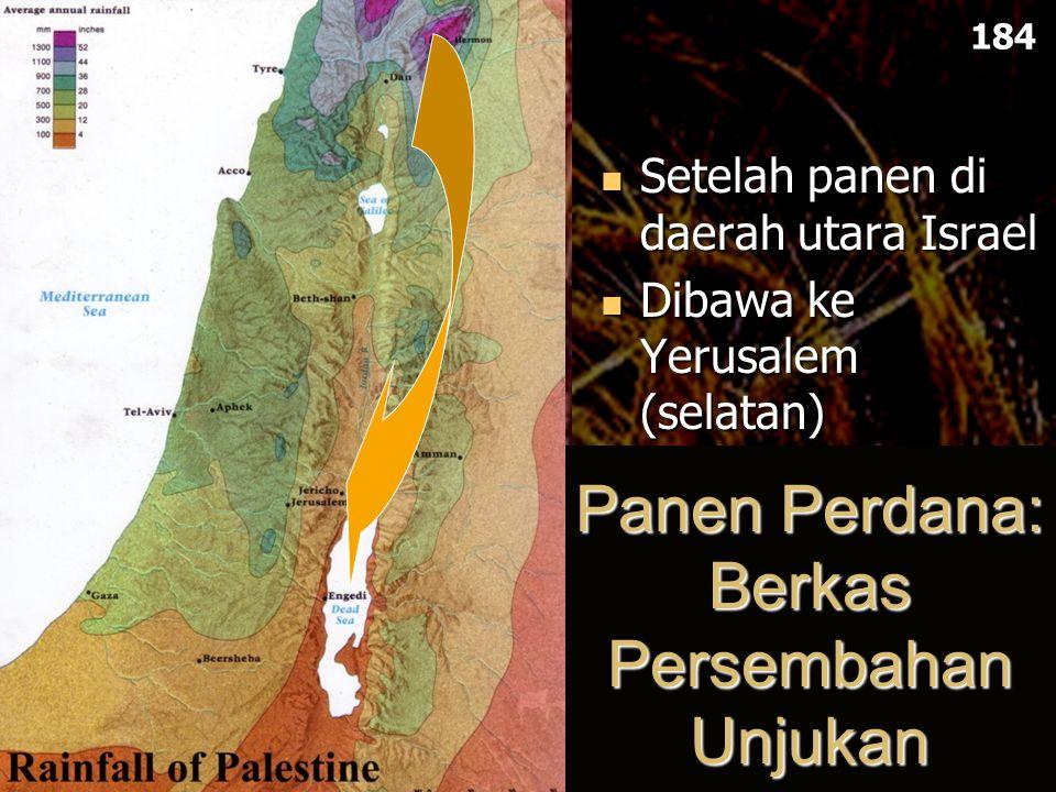 Panen Perdana: Berkas Persembahan Unjukan Setelah panen di daerah utara Israel Dibawa ke Yerusalem (selatan) 184