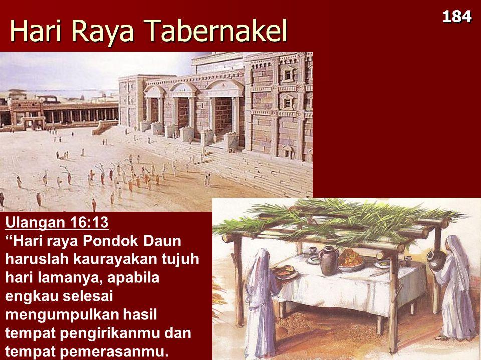 Hari Raya Tabernakel Ulangan 16:13 Hari raya Pondok Daun haruslah kaurayakan tujuh hari lamanya, apabila engkau selesai mengumpulkan hasil tempat pengirikanmu dan tempat pemerasanmu.