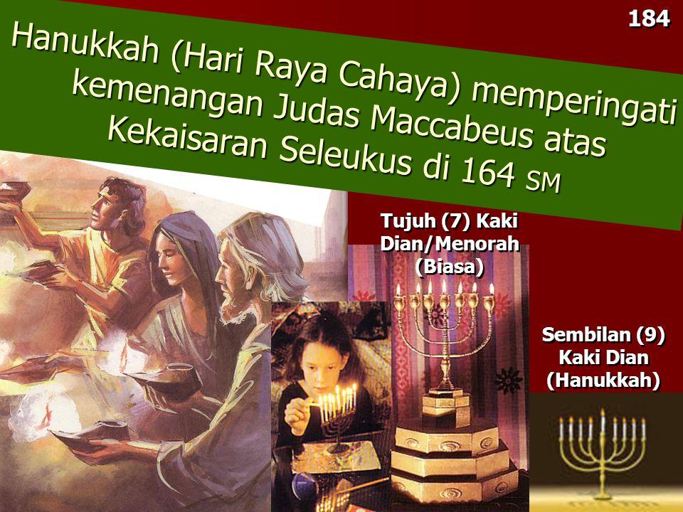 184 Sembilan (9) Kaki Dian (Hanukkah) Sembilan (9) Kaki Dian (Hanukkah) Hanukkah (Hari Raya Cahaya) memperingati kemenangan Judas Maccabeus atas Kekaisaran Seleukus di 164 SM Tujuh (7) Kaki Dian/Menorah (Biasa)