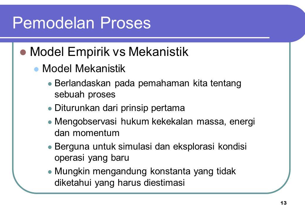 13 Model Empirik vs Mekanistik Model Mekanistik Berlandaskan pada pemahaman kita tentang sebuah proses Diturunkan dari prinsip pertama Mengobservasi h