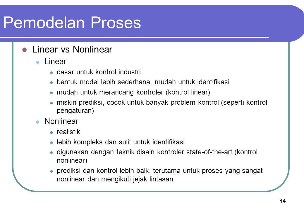14 Linear vs Nonlinear Linear dasar untuk kontrol industri bentuk model lebih sederhana, mudah untuk identifikasi mudah untuk merancang kontroler (kon