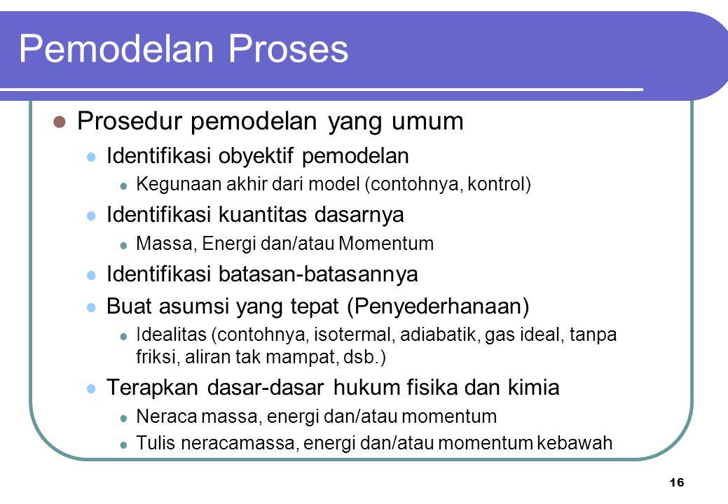 16 Prosedur pemodelan yang umum Identifikasi obyektif pemodelan Kegunaan akhir dari model (contohnya, kontrol) Identifikasi kuantitas dasarnya Massa,