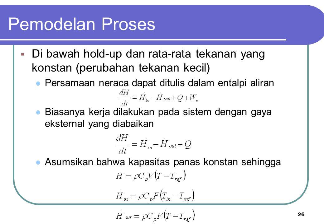 26  Di bawah hold-up dan rata-rata tekanan yang konstan (perubahan tekanan kecil) Persamaan neraca dapat ditulis dalam entalpi aliran Biasanya kerja
